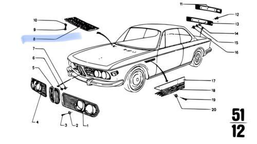 BMW E9 Haube Gitter Ventil Chrome Bonnet Grilles L/&R 51131827281 /& 51131827282