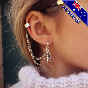 Details About Punk Silver Gold Cuff Link Chain Piercing Ear Helix Stud Earring