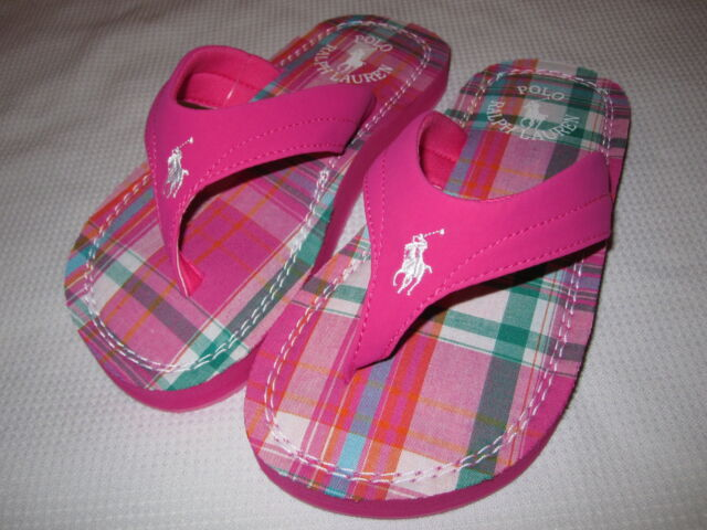 NWOT Girls Ralph Lauren Terrence Pink Plaid Flip Flops Sandals Sz 2
