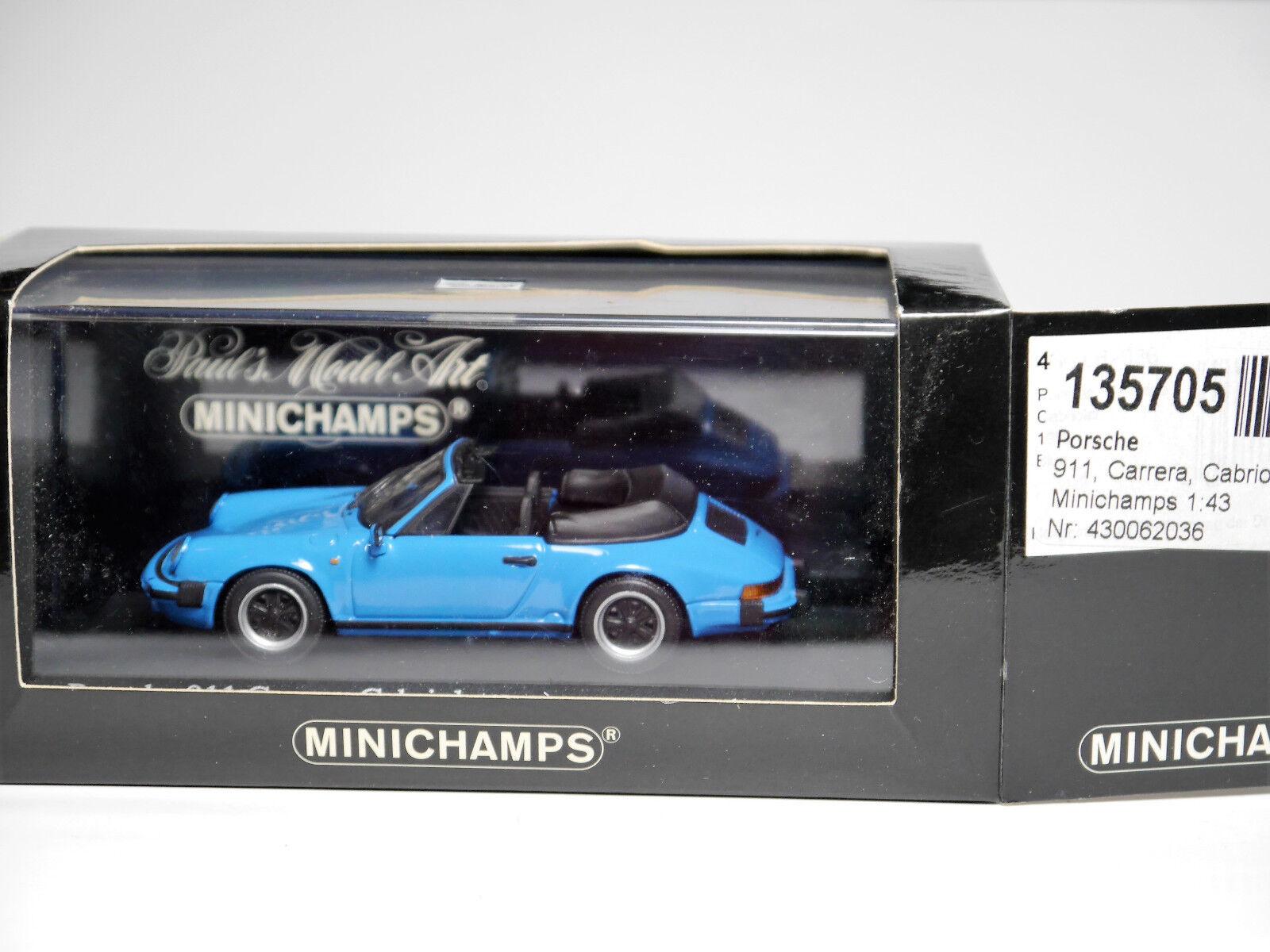 PORSCHE 911 Cabriolet 1983 G-modello Riviera Blu Minichamps 430 062036 1 43 Boxed