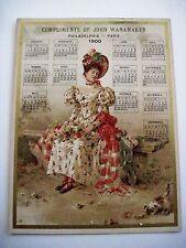 "Vintage Victorian 1900 Trade Card Calendar for ""John Wanamaker"" Woman & Kitten *"