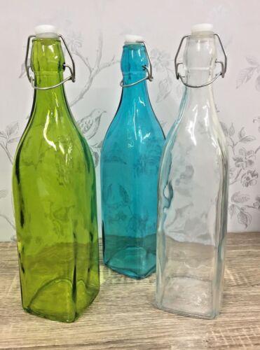 Cristal de forma cuadrada 75 CL Botella Korken-Verde Azul O Claro 6558