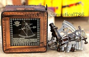 Handmade Antique Brass Sextant KELVIN & HUGHES LONDON With Leather Box Gift 4""