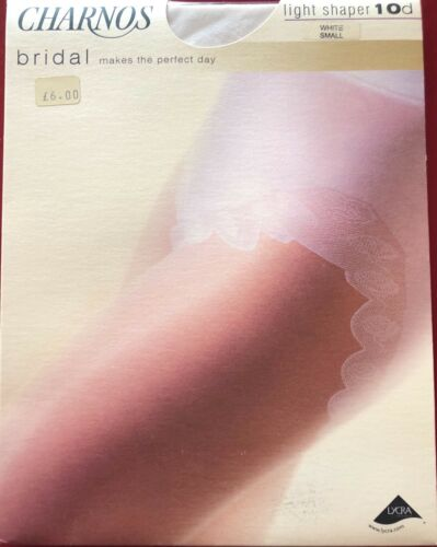 Charnos Sheer Bridal Light Shaper Pantyhose Tights White Small 10 Denier