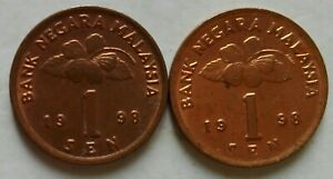 Second Series 1 sen coin 1998 2 pcs