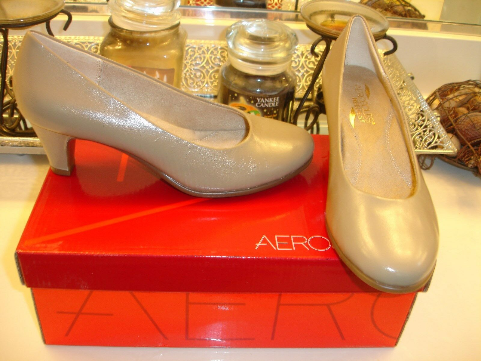 Aerosoles Tan rouge Hot Heels Memory Foam Comfort Conservative Taupe  6.5 NWB  89