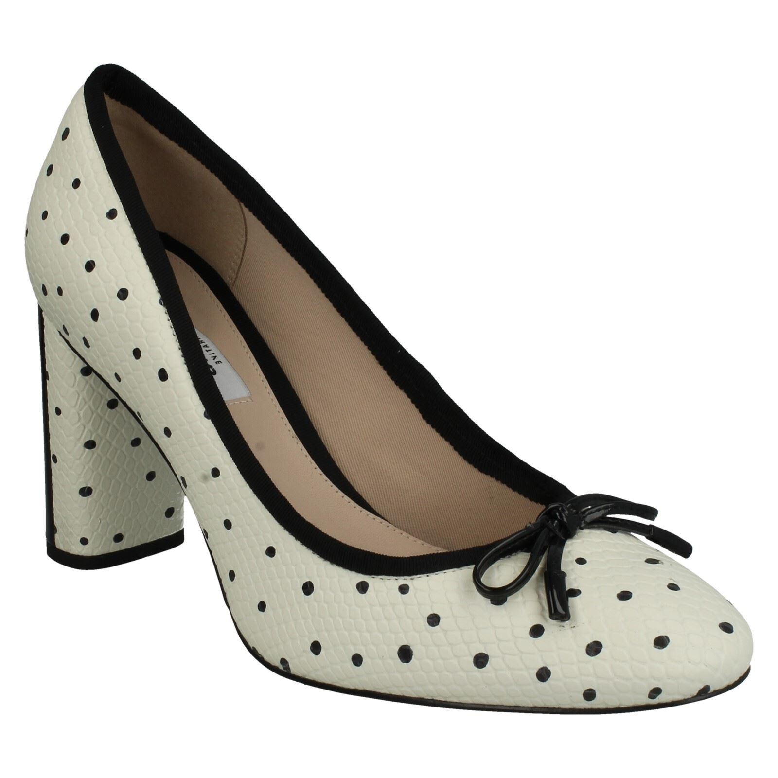 IDAMARIE FAYE FORMAL LADIES CLARKS SLIP ON FORMAL FAYE POLKA DOT LEATHER HEELED COURT SHOES d14a55