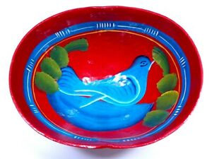 VINTAGE 1960s GOURD BOWL BIRD RED BLUE GREEN LACQUERED HAND CRAFTED FOLK ART