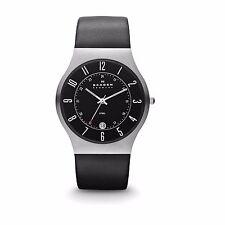Skagen 233XXLSLB Men's Denmark Black Leather Strap Black Dial Quartz Date Watch