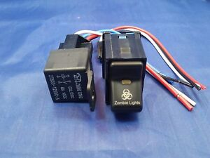 Jeep TJ Wrangler ZOMBIE Rocker Switch and 40 AMP Relay Snaps in