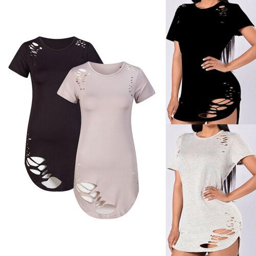 Polyester stretch kurzärmellig rundhals T-Shirts lang Oberteil Loch