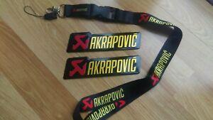 2X-AKRAPOVIC-LANYARD-Metal-Exhaust-Sticker-Yamaha-Kawasaki-Ducati-Ninja-R1-KTM