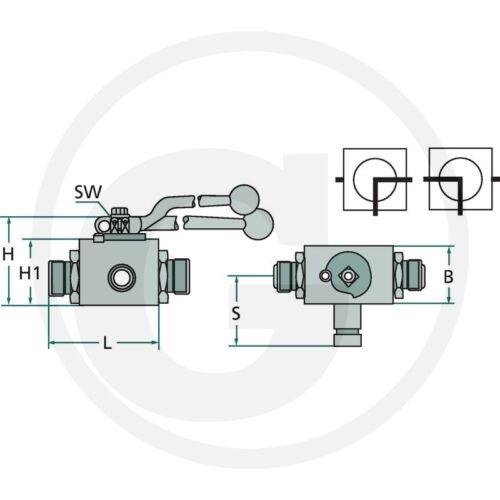 Hydraulique /_ 3 voies Bloc Robinet à bille bkh-3l 12s/_m20x1,5 /_ Robinet à bille