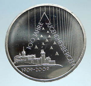 2009-GERMANY-with-Pyramid-Theme-Youth-Hostels-Genuine-Silver-10-Euro-Coin-i75194