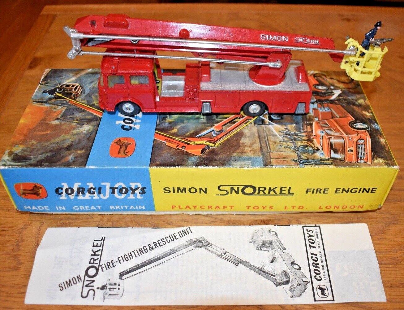 Vintage Corgi Major Toys 1127 Simon Snorkel Fire Engine; Original Box