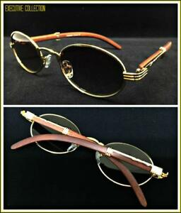 Mens-Classy-Sophisticated-Elegant-Retro-Style-SUN-GLASSES-Oval-Gold-amp-Wood-Frame