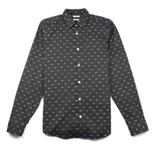 Kenzo Eye Print Mens Slim Fit Long Sleeve Luxury Shirt Black