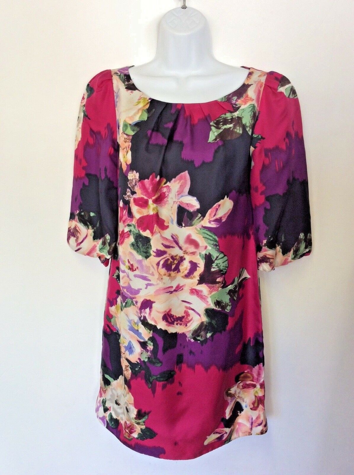 MONSOON FLORAL PRINT 3 4 SLEEVE SILK SHIFT DRESS SIZE 8