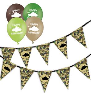 Militare-Verde-Mimetico-Compleanno-Bunting-amp-Palloncini-Compleanno-assortiti-confezione-da-5