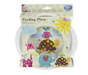 Baby-Toddler-Feeding-Dinner-Plate-Colourful-Cute-Animal-Friends-BPA-Free-12M