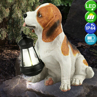 Garten Leuchte Skulptur Außen Solar Lampe Hund Figur 0,06W LED Solarzellen Deko | eBay