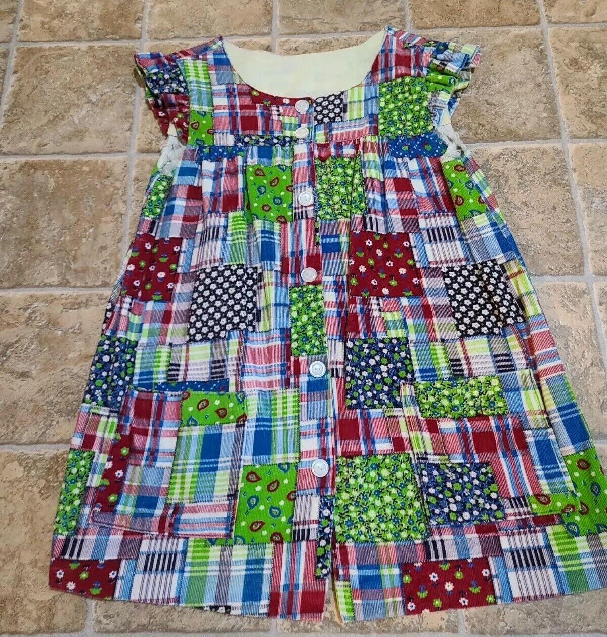 Vintage Corduroy Patchwork Floral Dress Hand Made… - image 2