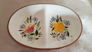 Vintage-Handpainted-10-034-Stangl-Pottery-Country-Garden-Divided-Vegetable-Bowl