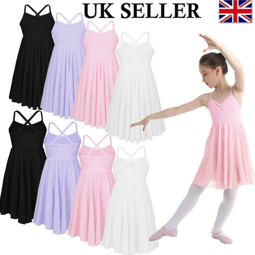 UK Girls Chiffon Ballet Dance Leotard Dress Ballroom Dancing Tutu Skirt Gym Wear