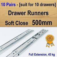 10 Pairs Soft Close Ball Bearing Drawer Runners / Slides Kitchen Vanity - 500mm