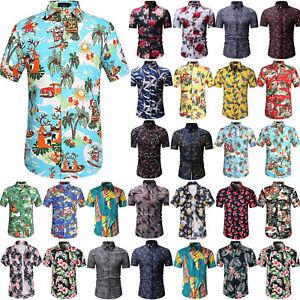 Mens-Summer-Casual-Dress-Shirt-Hawaiian-Floral-Short-Sleeve-T-Shirts-Tops-Blouse