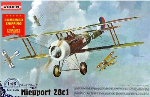 NIEUPORT 28C1 FRENCH FIGHTER-BIPLANE World War I 1/48 scale model kit RODEN 403