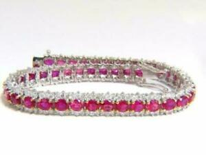 Pink-Sapphire-Diamond-14k-White-Gold-FN-9-CT-7-25-034-Tennis-Bracelet-Marked-925-SS