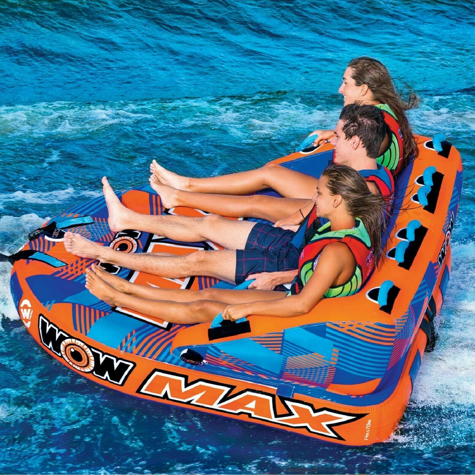 Image 3 - WOW MAX 1, 2 or 3 Person Inflatable Towable Tube Boat Water Raft Float FAST SHIP
