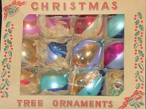 12-VINTAGE-POLAND-GLASS-CHRISTMAS-ORNAMENTS-MULTICOLOR-GLITTER-TEARDROP-amp-ROUND