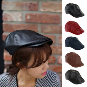 fb31f3e2931 Vintage Leather Newsboy Hat Cabbie Painter Cap Ivy Ascot Beanie Hat ...