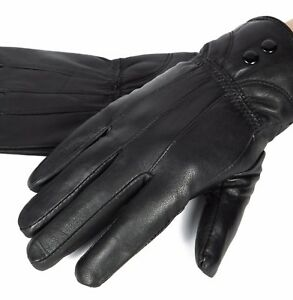 New-Women-039-s-Black-Winter-Warm-Genuine-Leather-Gloves-Thermal-Insulation-Lambskin