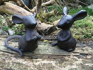 Pair-of-Cast-Iron-Mice-Ornaments-Garden-Yard-Figurines-Mouse-Sculpture