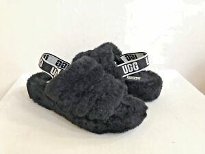 21e06e0dcaf Details about UGG FLUFF YEAH SLIDE BLACK MOCASSIN SLIP ON SANDAL US 12 / EU  43 / UK 10