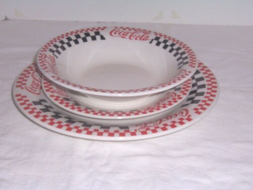 Coke Coca-Cola 1996 3-pc Checkered Dinnerware Gibson Discontinued