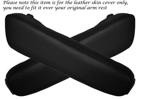 BLACK STITCHING FITS BMW E34 E32 2X LEATHER ARMREST SKIN COVERS ONLY
