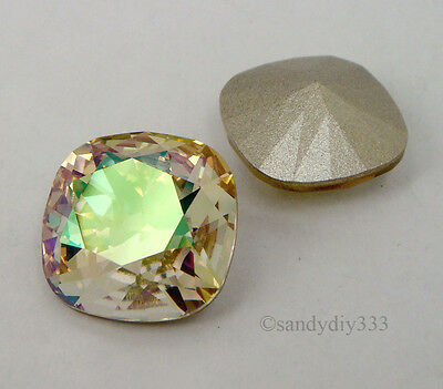 2x SWAROVSKI 4470 Luminous Green 12mm SQUARE CABOCHON FANCY STONE CRYSTAL (Foil)