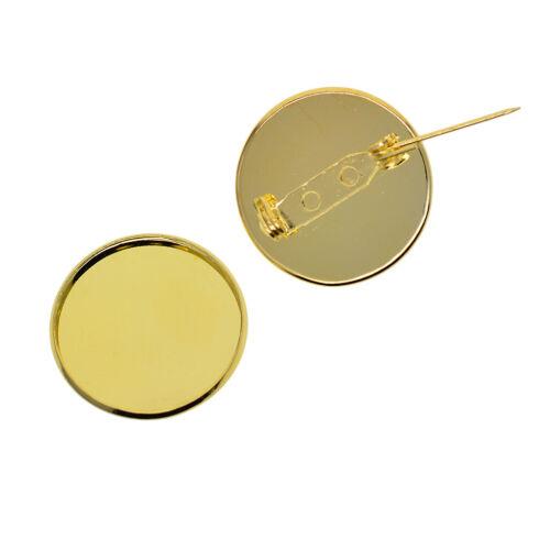 40pc Bronze Round Cabochon Brooch Base Pad Pin Back 25mm for Bowknots Badges