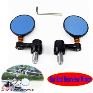 Universal-Motorcycle-bike-7-8-034-amp-1-034-Bar-End-Rear-Side-View-Mirrors-For-Cafe-Racer