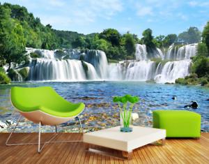 3D Wasserfall Fluss 854 Tapete Wandgemälde Tapete Tapeten Bild Familie DE Summer