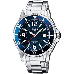 Casio-Uhr-MTD-1053D-2A-Herren-Armbanduhr-Edelstahl-Blau-Silber-Watch-NEU-amp-OVP