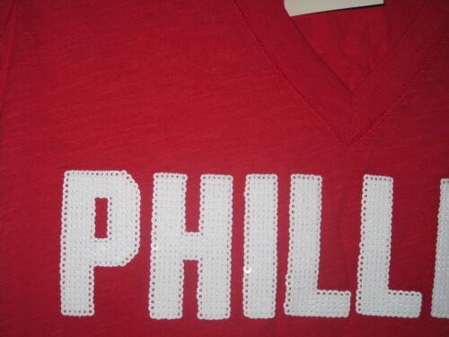 NWT VICTORIA/'S SECRET PHILADELPHIA PHILLIES SEQUIN BLING 3 STRIKES T SHIRT TOP
