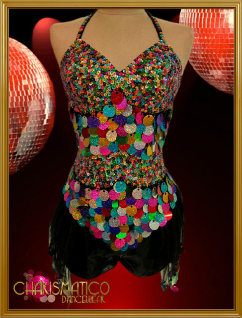 CHARISMATICO Halter style Dual texture rainbow sequin diva tasseled short dress
