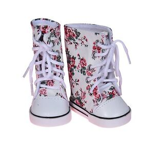 18 inch Doll Printed Hightops Sneakers White Fits American Girl Dolls