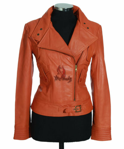 vera Orange agnello Ladies in motociclista stile Giacca di pelle stile s4110 motociclista Tara 1ZvWqR0