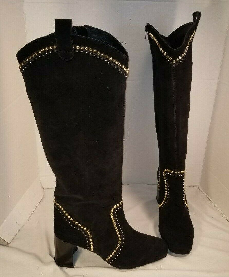 NEW FREE PEOPLE JEFFREY CAMPBELL LOLITA BLACK SUEDE STUDDED BOOTS WOMEN'S US 10